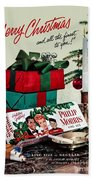 Merry Christmas Vintage Cigarette Advert Beach Towel