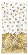 Metallic Gold Floral Flower Swirls Trendy Unique Art By Madart Beach Towel