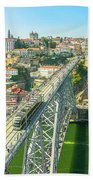 Metro Train Over Porto Bridge Beach Towel