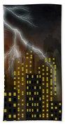 Metropolis At Stormy Night Beach Sheet