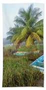 Mexican Boat In The Fog Beach Towel