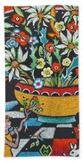 Mexican Vase With Spring Flowers Beach Towel