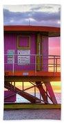 Miami Beach Round Life Guard House Sunrise Beach Towel