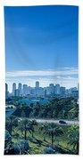 Miami Florida City Skyline And Streets Beach Towel