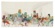 Miami Florida City Skyline Beach Towel