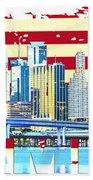 Miami Florida City Skyline Beach Towel