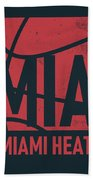 Miami Heat City Poster Art Beach Towel