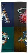 Miami Sports Fan Recycled Vintage Florida License Plate Art Marlins Heat Dolphins Panthers Beach Towel