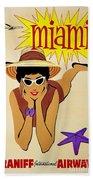 Miami Travel Poster Beach Towel