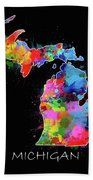 Michigan Map Color Splatter 2 Beach Towel