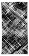 Micro Linear Black And White Beach Towel