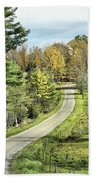 Middle Road In Autumn Beach Towel