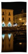 Midnight Silence And Solitude - Syracuse Sicily Illuminated Waterfront Beach Towel