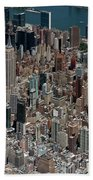 Midtown East Manhattan Skyline Aerial   Beach Towel