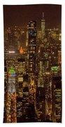 Midtown Manhattan Skyline Aerial At Night Beach Towel