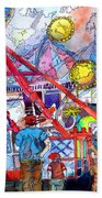 Midway Amusement Rides Beach Towel