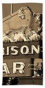 Miles City, Montana - Bison Bar Sepia Beach Towel