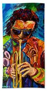 Miles Davis Hot Jazz Portraits By Carole Spandau Beach Towel