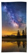 Milky Way Over Coffin Pond  Beach Towel