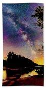 Milky Way Over The Saco River Maine  Beach Towel