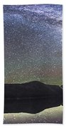 Milky Way Panorama At Cameron Lake Beach Towel