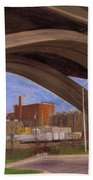Miller Brewery Viewed Under Bridge Beach Towel