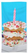 Mini Donut Cake With  Blue Candle By Sheila Fitzgerald Mini Donut Cake With Pink Candle Beach Towel