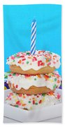 Mini Donut Cake With  Blue Candle Beach Towel