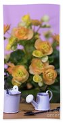 Miniature Gardening Kit With Orange Begonia Background Beach Towel
