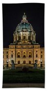 Minnesota Capital At Night Beach Towel