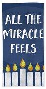 Miracle Feels- Hanukkah Art By Linda Woods Beach Sheet