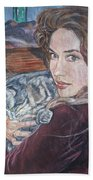 Misha The Cat Woman Beach Towel