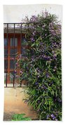 Mission Window With Purple Flowers Beach Towel