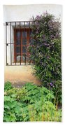 Mission Window With Purple Flowers Vertical Beach Towel