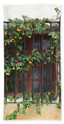 Mission Window With Yellow Flowers Beach Towel