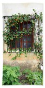 Mission Window With Yellow Flowers Vertical Beach Towel