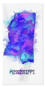 Mississippi Map Watercolor 2 Beach Towel