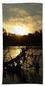 Mississippi River Sunrise Tree Roots Beach Towel
