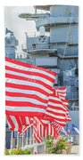 Missouri Battleship Memorial Flags Beach Towel