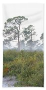 Misty Morning On The Trail Beach Towel