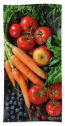 Mix Of Fruits, Vegetables And Berries Beach Towel
