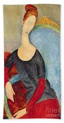 Mme Hebuterne In A Blue Chair Beach Towel by Amedeo Modigliani