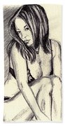 Model Quick Drawing Beach Towel
