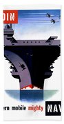 Modern Mobile Mighty Navy Beach Towel
