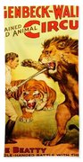 Modern Vintage Circus Poster Beach Sheet