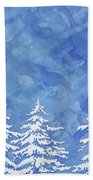 Modern Watercolor Winter Abstract - Snowy Trees Beach Towel