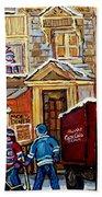 Moe's Corner Snack Bar And Diner Montreal Landmark  Restaurant Canadian Art Carole Spandau Beach Towel
