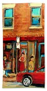 Moishes Steakhouse On The Main By Montreal Streetscene Painter Carole  Spandau  Beach Towel