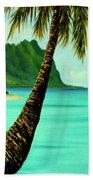 Mokolii Chinamans Hat Koolau Mountains #81 Beach Towel