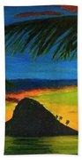 Mokolii Sunset #80  Beach Towel